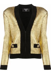 Balmain Gold Cropped Cardigan - Dourado