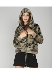 Jaqueta Feminina Em Pelo Estampada Camuflada Com Capuz Verde Militar