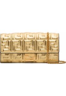 Fendi Clutch Dourada Com Logo Ff - Dourado