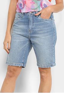Bermuda Jeans Carmim Estonada Feminina - Feminino-Azul Claro