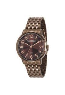 Kit Relógio Feminino Mondaine 53673Lpmvme2Ka Analógico 5Atm + Pulseira | Mondaine | Marrom | U