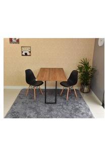 Conjunto De Mesa Dobrável Retrátil 120 X 75 Noronha + 2 Cadeiras Eiffel - Preta