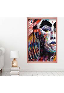 Quadro Love Decor Com Moldura Face Colors Rose Metalizado Grande