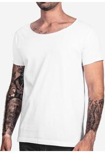 Camiseta Básica Branca Gola Canoa 101929