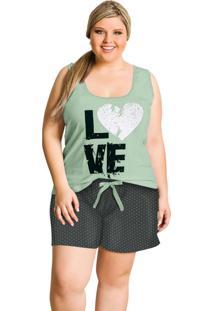 Pijama Plus Size Chumbo E Verde