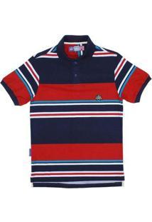 Camisa Polo Listrada Rodeo Western Masculina - Masculino-Azul+Vermelho