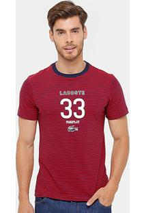Camiseta Lacoste Slim Fit Listras Masculina - Masculino