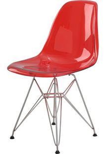 Cadeira Eames Eiffel Policarbonato Vermelho Translucido Base Cromada - 44197 - Sun House