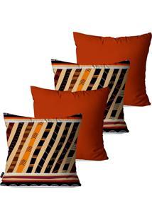 Kit Com 4 Capas Para Almofadas Decorativas Caramelo Étnica Abstrato 45X45Cm