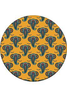 Tapete Love Decor Redondo Wevans Elefante Geométrico Amarelo 94Cm