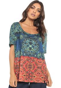 Camiseta Cantão Mandala Azul/Verde