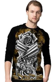 Camiseta Manga Longa Stompy Gun - Masculino-Preto