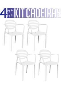 Kit 4 Cadeiras Stripe Com Braço Branco