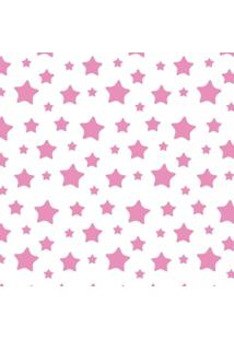 Papel Adesivo Sunset Adesivos De Parede Estrelas Rosa E Fundo Branco - Rolo 3,00 X0,50 M