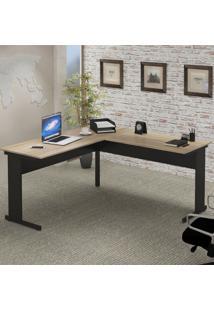 Mesa Escritório Em L C/ Pé Metálico 1600X1600 Calvi/Preto