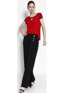 Blusa Com Tiras- Vermelha & Preta- Milioremiliore