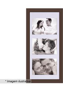 Painel Para 3 Fotos- Marrom & Branco- 43X21Cm- Kkapos