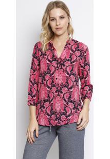 Camisa Arabescos- Azul Escuro & Pink- Intensintens