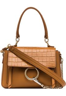 Chloé Brown Faye Small Mock Croc Leather Shoulder Bag - Neutro