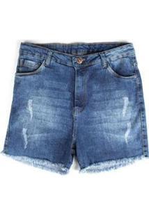 Bermuda Jeans Besni Plus Size Barra Desfiada Puídos Feminina - Feminino-Azul+Off White