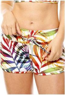 Shorts Curto Feminino Duna Casual - Feminino-Branco+Amarelo