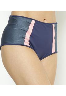 Calcinha Hot Pant Com Recortes- Azul Marinho & Rosa-Daniela Tombini