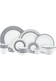 Aparelho De Jantar E Chá Porcelana Schmidt 30 Peças - Dec. Mila