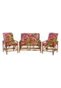 Sofá 2 Lugares 2 Cadeiras De Bambu Cancun Para Area Edicula Jardim G25