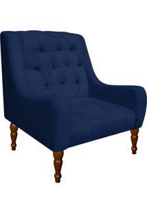 Poltrona Decorativa Maia Suede Azul Marinho - D'Rossi