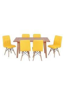 Conjunto Mesa De Jantar Em Madeira 150X80 Vértice + 6 Cadeiras Gomos - Amarelo