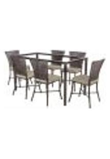 Jogo De Jantar 6 Cadeiras Turquia Pedra Ferro A11 E 1 Mesa Retangular Sem Tampo Ideal Para Área Externa Coberta