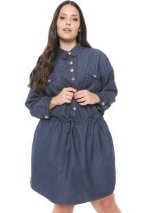 Vestido Jeans Plus Size Da Cambos Azul - Azul - Feminino - Dafiti