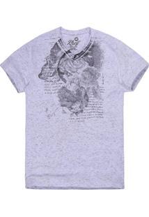 Camiseta Khelf Flamê Flores Texto Preto E Branco