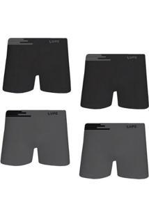 d3e8e059bc0056 Kit Cueca Lupo Boxer Microfibra Sem Costura 4 Peças Masculina -  Masculino-Grafite+Preto