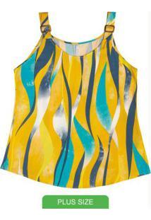 Blusa Com Alça Estampada Amarelo