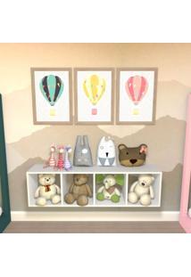 Nicho Cubo Com 3 Prateleiras Ciati Kit Cubos Baby Bramov Móveis Branco