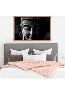Quadro Com Moldura Buddha Em Cinza Rose Metalizado - Grande