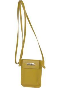 Mini Bolsa Transversal Artlux - Feminino-Amarelo