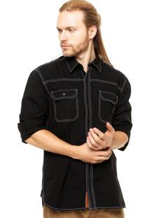 Camisa Manga Longa West Coast Pesponto Contrastante Preta