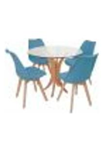 Conjunto Mesa De Jantar Tampo De Vidro 90Cm Com 4 Cadeiras Leda - Turquesa