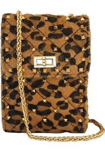 Mini Bolsa Bag Dreams Animal Print Com Spikes Caramelo