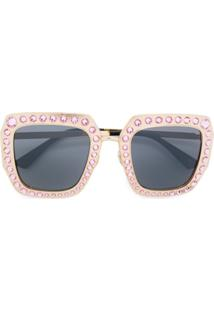 Gucci Eyewear Óculos De Sol Oversized Com Cristal Swarovski - 003