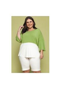 Blusa Ampla Almaria Plus Size Garage Bicolor Verde