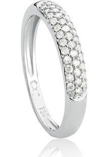 Anel De Ouro Branco 18K Pavê Com Diamantes Off White-Coleção Pavês Amare