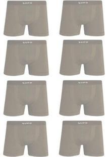 d315e09c49a0fc Kit Cueca Lupo Boxer Microfibra Sem Costura 8 Peças - Masculino-Bege