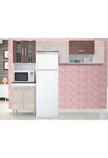 Cozinha Com 8 Portas Manuela Amêndoa/Capuccino – Lc Móveis