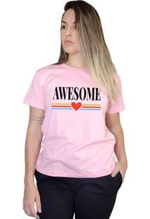 Camiseta Boutique Judith Awesome Rosa
