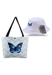 Bucket Branco E Bolsa Sacola Borboleta Azul