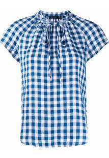 Polo Ralph Lauren Blusa Com Barra Curvada E Padronagem Xadrez - Azul