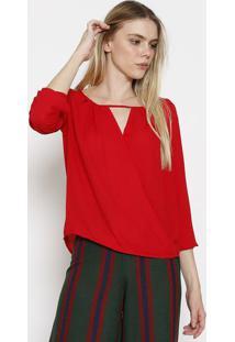 Blusa Com Transpasse & Pregas - Vermelhacalvin Klein